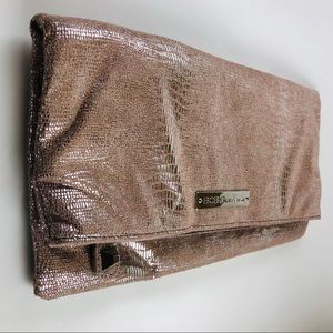 BCBGeneration Pink Metallic Fold-Over Clutch NWOT
